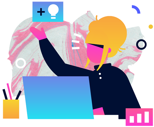 Illustrated woman with yellow hair working on a laptop with lightbulb icon floating in the air